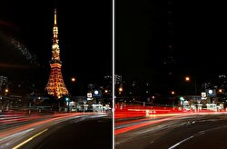 A combination photo shows the Tokyo Tower before and after its lights were turned off