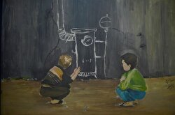 Following the bombing of his house in Aleppo's Hanano Mesekin district by regime-owned warplanes, Ibrahim, who settled in the tent city of as-Salaam in Azaz, portrays the civil war in Syria in his paintings.