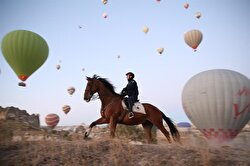 Members of Gendarmerie Horse and Dog Training Center ensure security in Nevşehir