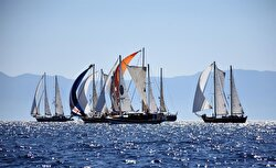 Sailboats take part in the 29th The Bodrum Cup sailing race along Bodrum - Kisebuku stage in Aegean city of Mugla, Turkey on October 17, 2017.