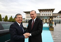 President of Uzbekistan Shavkat Mirziyoyev is welcomed by Turkish President Recep Tayyip Erdogan ahead of their meeting at the Presidential Complex in Ankara, Turkey on October 25, 2017.
