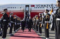Prime Minister of Turkey, Binali Yıldırım (C-R) and his wife Semiha Yıldırım (C-L) arrive at Gimhae International Airport during a welcoming ceremony, held due to their arrival in Busan, South Korea on December 05, 2017.