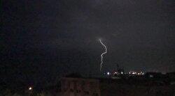 Lightning illuminates Istanbul's night sky