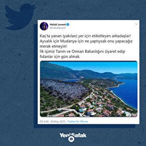 Sanatçı Haluk Levent, Antalyanın Kaş ilçe merkezindeki doğa cenneti Çukurbağ Yarımadasında çıkan ve 25 dönüm alanın yandığı bölgenin ağaçlandırılması için çalışacaklarını duyurdu.