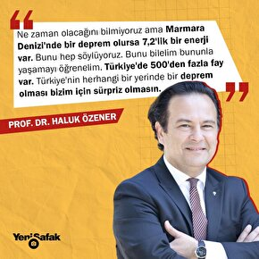 Prof. Dr. Haluk Özener: Marmara Denizinde bir deprem olursa 7,2lik bir enerji var.