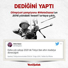 Doğrulanmış Olimpiyat şampiyonu Mete Gazozun 2016 yılındaki tweeti ortaya çıktı