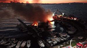 Kartal sahilinde 6 tekne yandı
