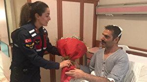 Jandarma ekiplerinden depremde yaralananlara ziyaret