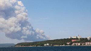 Çanakkale'de orman yangını: 20 helikopter, 2 amfibik uçak, 107 arazöz, 7 dozer ve 400 personelle müdahale ediyoruz