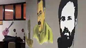 Bakan Soylu HDP binasında çekilen skandal görüntüleri paylaştı: Öcalan'ın posterini asmışlar