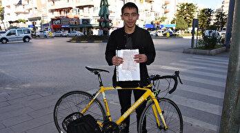 Bisikletiyle kırmızı ışıktageçti, 420 TL ceza yedi