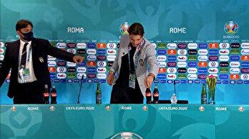 Soccer star Locatelli copies Ronaldo, chucks away Coca-Cola bottles