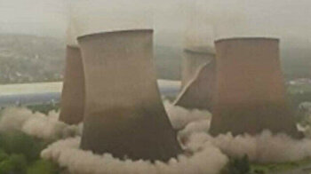 Four cooling towers 117 meters high demolished in controlled explosion