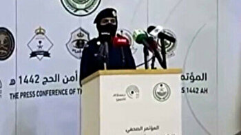 Press conference in Saudi Arabia opened by female soldier for first time ever