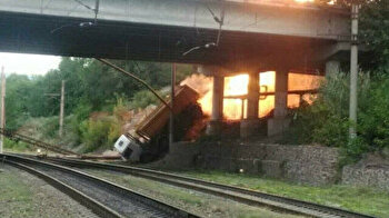 Pipe explodes in deadly blast after truck falls off bridge in Russia