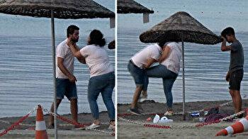 Woman kicks man in the crotch on beach in Turkey