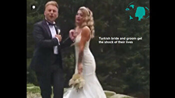 Turkish bride, groom run for their lives as dog chases them during photo session