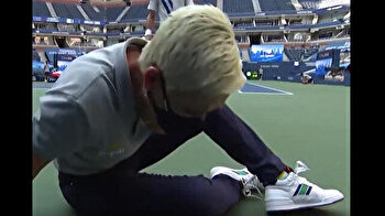 Famous athlete hits official in the throat with tennis ball