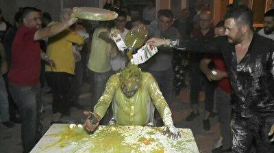 Eggs, oil and vinegar: Turkish groom turns into pancake in bizarre wedding ritual