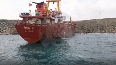 Cargo ship runs aground in Canakkale, Turkey