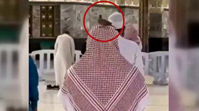 Devout pigeon sits resolutely on Muslim worshiper praying at Kaaba