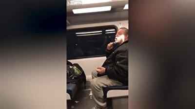 Passenger shaves beard on train