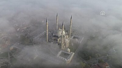 Turkey's iconic Selimiye Mosque covered by morning fog