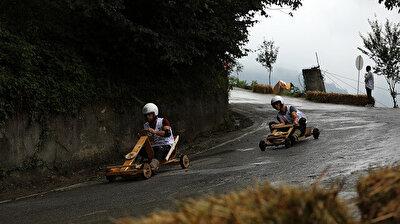 Handmade wooden car race in northern Turkey