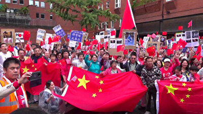 Overseas Chinese associations gather in London against violence in Hong Kong