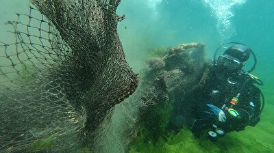 Death traps for almost any sea animal, the 'ghost nets' at the bottom of the Marmara Sea off Istanbul's Gurpinar district, have been recently removed from the sea by a group of volunteer divers.