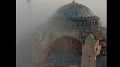 Mesmerizing aerial footage shows dense fog embracing Istanbul's Hagia Sophia Mosque