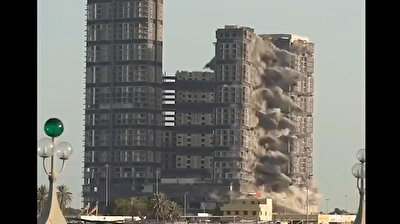 Record-setting demolition of Abu Dhabi's Meena Plaza Towers