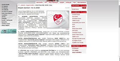 TFF'nin resmi sitesinde 'Fatih Karagümrükspor' olarak yazıldığı görüldü.
