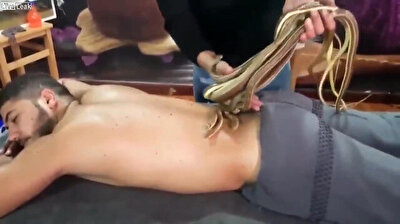 Freaky snake massage in Egypt will make your skin crawl
