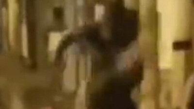 Despicable man kicking dog on street gets instant karmic retribution