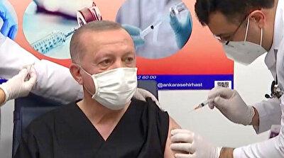 الرئيس التركي رجب طيب أردوغان يتلقى أول جرعة من لقاح