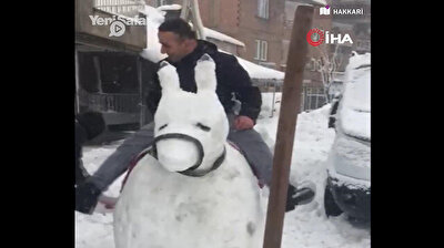 Man rides giant donkey made of snow in SE Turkey
