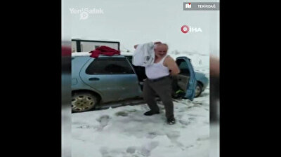Turkish grandpa takes off shirt, starts dancing in the snow