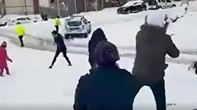 Colorful footage shows a funny snowball fight taking place between Turkish police teams and children in Turkey's eastern province of Şırnak, shared by General Directorate of Police on social media accompanied by the caption 'Of course we lost against the children.'