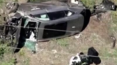 Shocking aftermath of Tiger Woods car crash caught on tape
