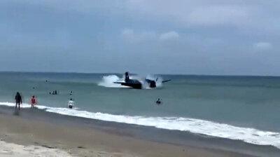 شاهد.. هبوط اضطراري لطائرة على البحر مباشرة في فلوريدا الأمريكية!