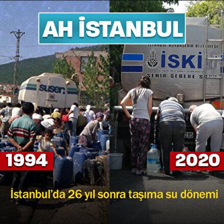 İstanbul'da 26 yıl sonra taşıma su dönemi: Bidonunu alan İSKİ tankeri önünde sıraya girdi