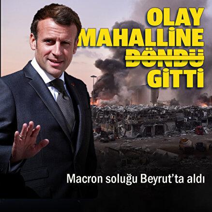 Fransa Cumhurbaşkanı Macron harabeye dönen Beyrut sokaklarında