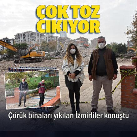 İzmir depreminde hasar gören binaların yıkımından yükselen toza esnaf tepkisi