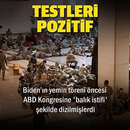 Biden'ın yemin töreni öncesi kongreye yığılan askerlerden 200ünün Kovid-19 testi pozitif