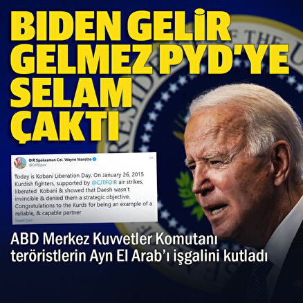 ABD Merkez Komutanlığı'ndan terör örgütü PKK'ya Ayn el Arap kutlaması