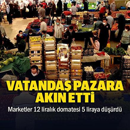 Vatandaş pazara akın etti: Marketler 12 liralık domatesi 5 liraya düşürdü