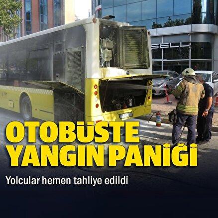 Ataşehirde özel halk otobüsünde yangın paniği: Yolcular hemen tahliye edildi