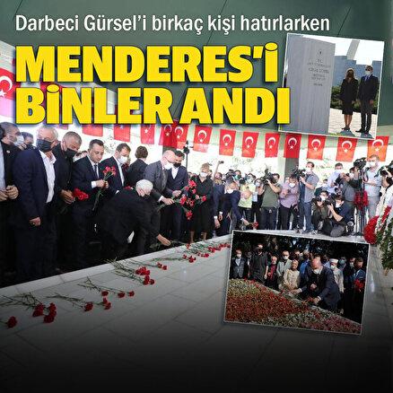 Darbe lideri Cemal Gürsel'i birkaç kişi Adnan Menderes'i binler andı