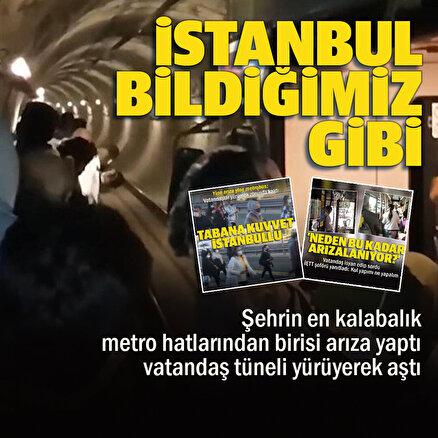 Metro arızası vatandaşlara zor anlar yaşattı: Duraklar arasında yürüdüler